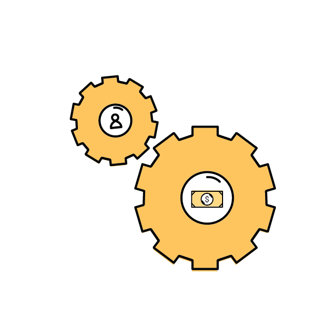 2 gears working together, one has money at the center and the other has a person