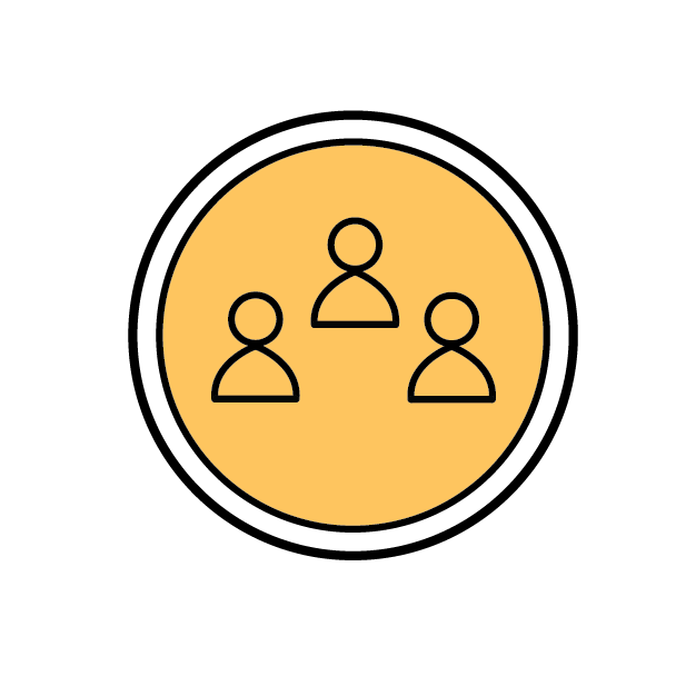 Circle icon with 3 people in the center
