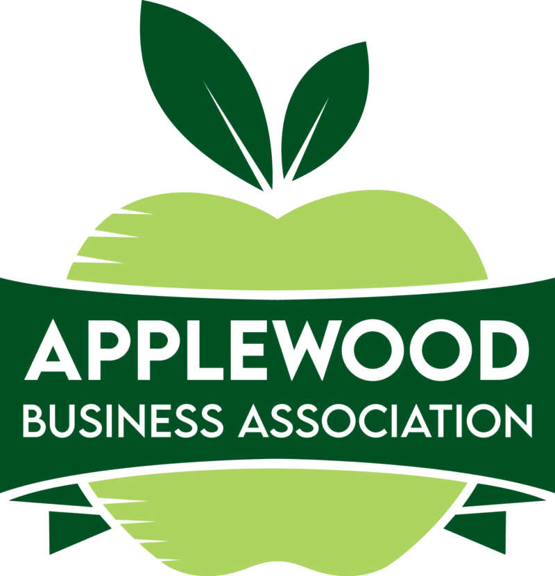 """ABA Logo: a green apple with a banner across that says """"Applewood Business Association"""""""