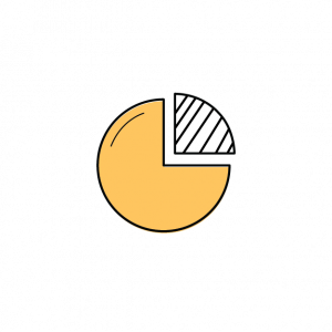 pie chart with 1/4 shaded differently