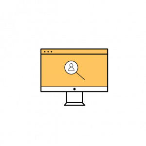 desktop computer with a search magnifying glass icon