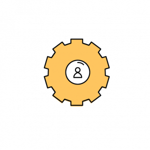 gear with a person at the center