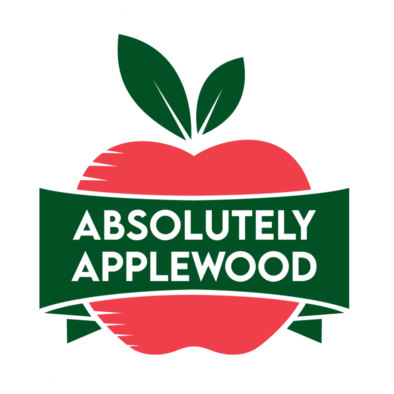 Absolutely Applewood logo, a red apple with a banner across it that says