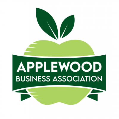 ABA Logo: a green apple with a banner across that says